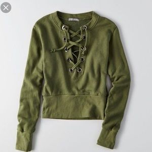 AEO Don't ask why green lace up sweatshirt